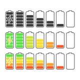 iconos de la batería fijados ilustración del vector