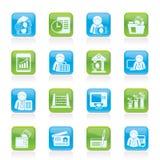 Iconos de la batería y de las finanzas Imagen de archivo libre de regalías