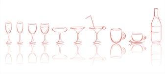 Iconos de la bebida Foto de archivo
