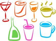 Iconos de la bebida Fotografía de archivo