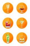 Iconos de la bebida alcohólica Fotos de archivo