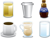 Iconos de la bebida del desayuno Fotos de archivo