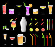 Iconos de la bebida del partido Fotografía de archivo libre de regalías