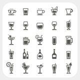 Iconos de la bebida y de la bebida fijados Fotografía de archivo