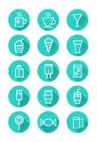 Iconos de la bebida y de los dulces Imagenes de archivo