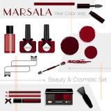 Iconos de la belleza y del cosmético del color de la marsala fijados Fotografía de archivo libre de regalías
