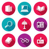 Iconos de la biblioteca fijados Ilustración del vector stock de ilustración