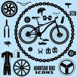 Iconos de la bici de montaña Imagen de archivo