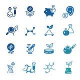 Iconos de la biotecnología genética de la modificación y de la investigación de la DNA libre illustration