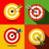 Iconos de la blanco fijados con las flechas - dardos ilustración del vector
