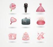 Iconos de la boda Imágenes de archivo libres de regalías