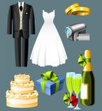 Iconos de la boda Imagenes de archivo