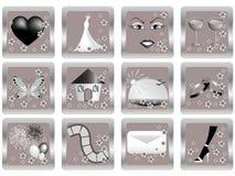 Iconos de la boda del vector Fotografía de archivo