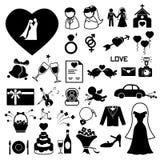 Iconos de la boda fijados Fotos de archivo libres de regalías