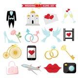 Iconos de la boda para el web y el móvil Vector retro Foto de archivo