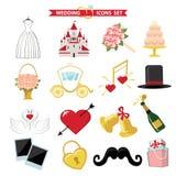 Iconos de la boda para el web y el móvil Vector retro Imagenes de archivo
