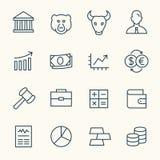 Iconos de la bolsa de acción Imagen de archivo