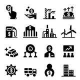 Iconos de la bolsa de acción y del mercado de acción Fotos de archivo