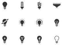 12 iconos de la bombilla Foto de archivo libre de regalías