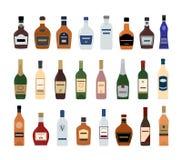 Iconos de la botella del alcohol en el fondo blanco Foto de archivo
