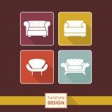 Iconos de la butaca del vintage fijados. Concepto de los muebles del desván Imagen de archivo libre de regalías