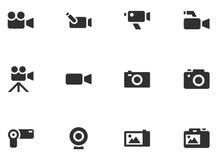 12 iconos de la cámara Foto de archivo libre de regalías