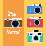 Iconos de la cámara fijados en estilo plano Imágenes de archivo libres de regalías