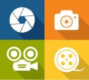 Iconos de la cámara y del obturador Fotografía de archivo