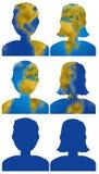 Iconos de la cabeza de la gente del mapa del mundo ilustración del vector