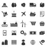 Iconos de la cadena de suministro en el fondo blanco stock de ilustración