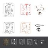Iconos de la cafetería fijados stock de ilustración