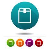 Iconos de la caja de la entrega Muestras de la caja de envío Símbolo de las compras Botones del web del círculo del vector Foto de archivo