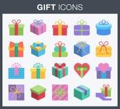 Iconos de la caja de regalo Foto de archivo libre de regalías