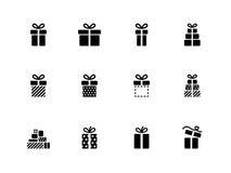 Iconos de la caja de regalo en el fondo blanco. ilustración del vector