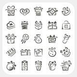 Iconos de la caja de regalo fijados Fotos de archivo libres de regalías