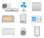 Iconos de la calefacción y del aire acondicionado Fotos de archivo libres de regalías