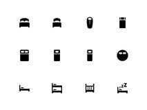 Iconos de la cama en el fondo blanco libre illustration