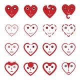 Iconos de la cara de la sonrisa del emoticon del corazón fijados Foto de archivo