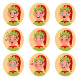 Iconos de la cara del emoji del duende de la Navidad Sistema de diverso charac de las emociones Imagen de archivo