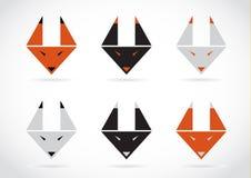 Iconos de la cara del zorro del vector fijados Imagenes de archivo