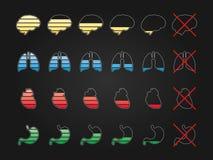 Iconos de la carga de la batería Fotografía de archivo libre de regalías