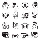 Iconos de la caridad fijados Fotografía de archivo libre de regalías