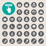 Iconos de la caridad y de la donación fijados Imágenes de archivo libres de regalías