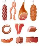 Iconos de la carne Foto de archivo libre de regalías