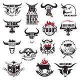 Iconos de la carne de la carne de vaca Fotografía de archivo libre de regalías