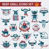 Iconos de la carne de la carne de vaca Foto de archivo libre de regalías