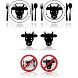 Iconos de la carne de vaca libre illustration