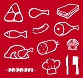 Iconos de la carne fijados Fotografía de archivo libre de regalías