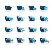 Iconos de la carpeta - 2 series del azul de // ilustración del vector