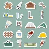 Iconos de la carpintería fijados ilustración del vector